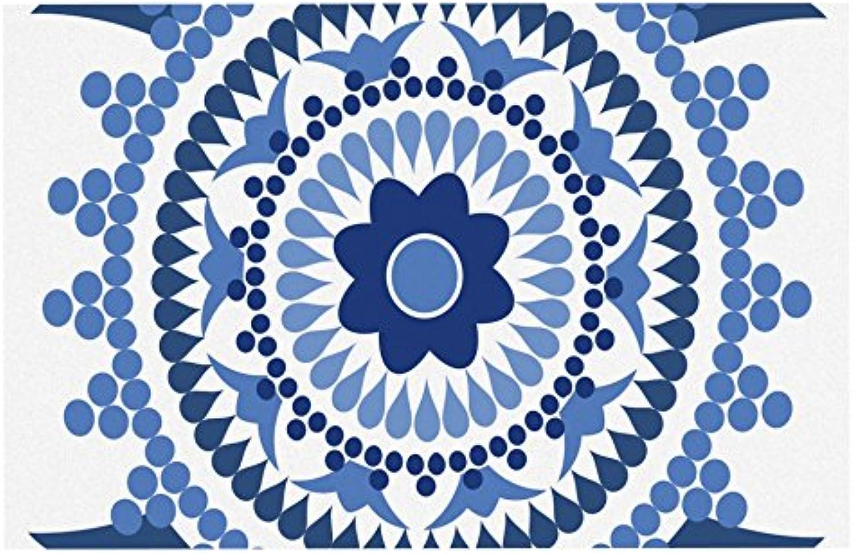 KESS InHouse CG1001ADM02 Carolyn Greifeld Bohemian bluees bluee White Dog Place Mat, 24 x15