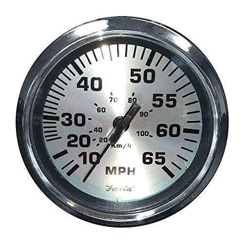 Best Price Faria 36010 Spun Speedometer Gauge 4-Silver, 65 MPH