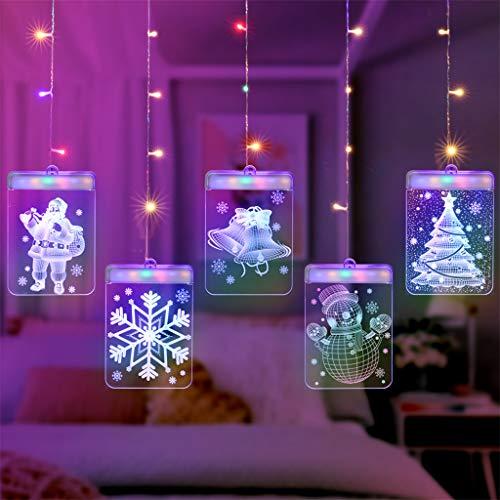 QHJ Weihnachten Deko Weihnachten, Dekorativ Lampen USB LED Nachtlicht 3D Acryl Zeichen Licht Dekor Weihnachtslicht Raum Anordnungs Weihnachtstag Dekorations Laternen Stern Licht Schnüre (B)