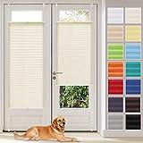 Vkele Plissee Klemmfix Faltrollo ohne Bohren (Beige, B35cm x H180cm) Sichtschutz & Sonnenschutz, Plissee Rollo Jalousie für Fenster & Tür