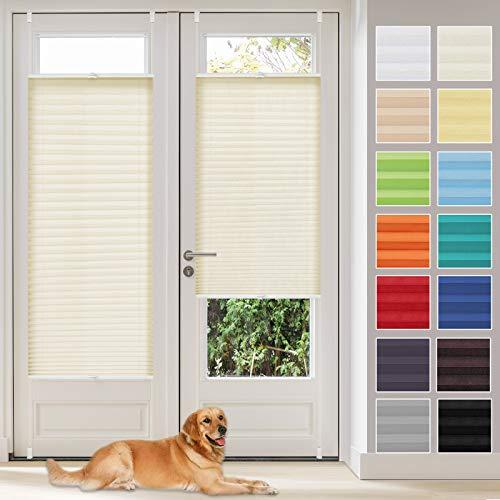Vkele Plissee Klemmfix Faltrollo ohne Bohren (Beige, B75cm x H120cm) Sichtschutz und Sonnenschutz, Plissee Rollo Jalousie für Fenster und Tür