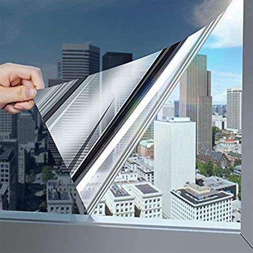 Spiegelfolie selbsthaftend Sichtschutzfolie Fensterfolie UV-Schutz Verdunkelungsfolie Wärmeisolierung Tönungsfolie Sonnenschutzfolie Fenster Folie für Haus Büro, 75 * 300CM Hell-Silber