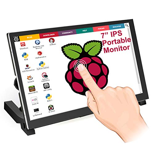 Raspberry Pi Touchscreen, ELECROW 7-inch Raspberry Pi Screen 1024 * 600 Resolution with Speakers&HDMI Interface Compatible with Raspberry Pi 3, Pi 4, Laptop, Windows PC, Game Consoles