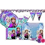 pot Kit Compleanno per 32 Persone N 46 Frozen NORTHEN ADDOBBI Festa Compleanno Anna Elsa Olaf Ghiaccio Piatti Bicchieri TOVAGLIOLI TOVAGLIA