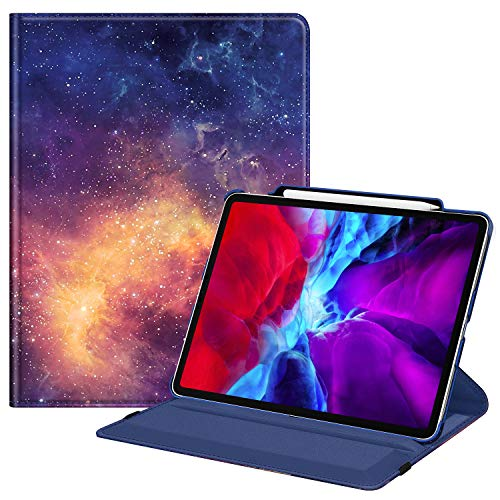Fintie Rotating Case for iPad Pro 12.9 4th Generation 2020 & 3rd Gen 2018-360 Degree Rotating Smart Stand Cover w/Pencil Holder, Auto Sleep/Wake, Supports 2nd Gen Pencil Charging, Galaxy