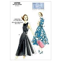 【vogue patterns】ヴィンテージ 50年代デザイン ワンピースドレスの型紙セット サイズ:US6-8-10-12-14 *8788