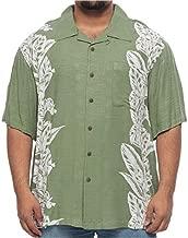 Island Passport Big and Tall Hawaiian Linear Woven Rayon Short Sleeve Shirt for Men