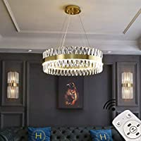 100W調光可能なラウンドクリスタルシャンデリアモダンK9クリスタルリビングルームシャンデリアステンレススチールメタルゴールデンフィニッシュリモートCo(レトロモダン照明(電球なし))
