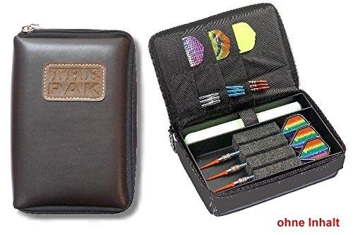Darttasche THE PAK-LEDER, Farbe braun strapazierfähige Nylon-Tasche für 1-2 Sets montierter Darts und zusätzlichen Fächern für Flys und Ersatzschäfte. (ohne Inhalt)