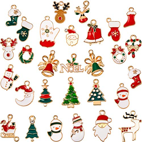 Christmas Pendant Charms Enamel DIY Jewelry Charms Christmas Theme Charm Pendants for Bracelet Necklace Earring Craft Making Clothes Sewing Bag Decoration Scrapbooking Supplies, 32 Styles (32 Pieces)