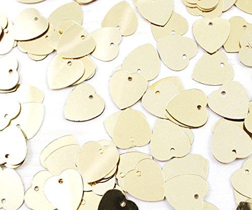20g Oro Metálicos Planos Corazón de Lentejuelas Confeti de san Valentín Paillettes Coser el Broche Bordado de 12 mm x 10 mm Agujero de 1mm