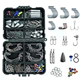 Pheanto 156PCS Fishing Accessories Kit Set Including Jig Hooks, Off Set Hook,Drop Shot Hook, Treble Hook, Bullet Bass Casting Sinker Weights,Fishing Line Beads with Tackle Box