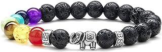 GelConnie Pulsera de chakras de roca de lava de 7 chakras de 8 mm con piedra natural curativa, alivio del estrés, yoga, an...