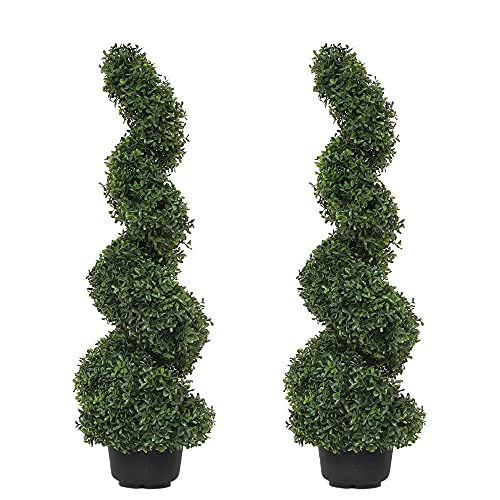 momoplant Artificial Boxwood Spiral Topiary trees, Artificial Trees Outdoors, 35 inch 2 Pack for...