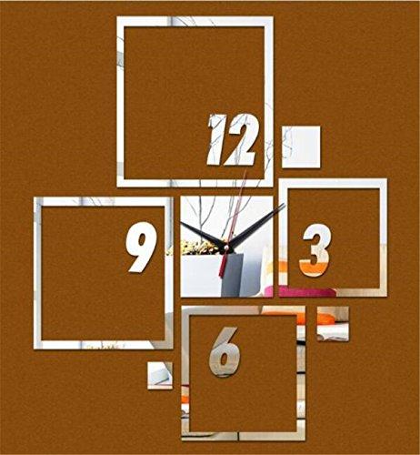 Sucastle® 12 in Acrylique Horloge Murale Silencieuse Moderne Horloge Pendule Murale Style Vintage Horloge avec Décoration Maison 3D DIY Pendule Murale Moderne Métallique Horloge