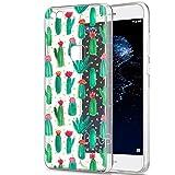 Funda Huawei P10 Lite, Eouine Cárcasa Silicona 3D Transparente con Dibujos Diseño TPU Antigolpes de Protector Bumper Case Cover Fundas para Movil Huawei P10Lite 2017-5.2 Pulgadas (Cactus)
