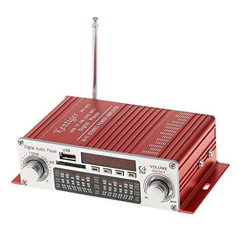 PETSOLA Amplificador Digital de Potencia Estéreo de Fidelidad para Coche HY-602 con Control de Infrarrojos FM MP3 USB SD