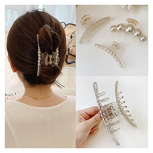 Haarklammern für Frauen 3 Stück Perlenhaarklauen Clips Easy Ziehen Sie Ihr Haar, das für alle Frisuren und Haartypen rutschfeste Haarspange für Frauen geeignet ist Haar Klaue