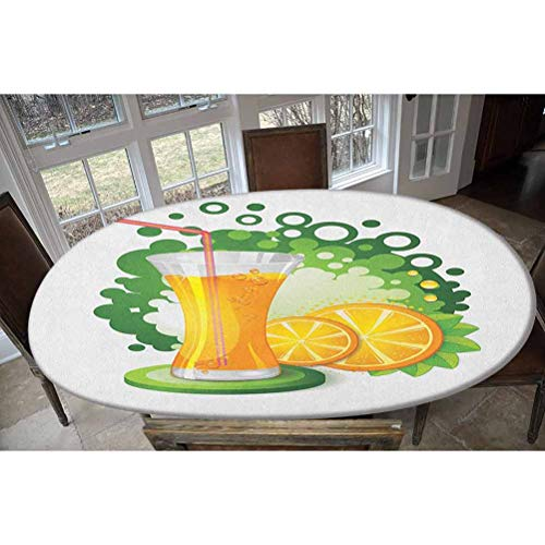 Elastic Polyester Fitted Table Cover,Glass of Orange Juice with Green Toned Background with Fruit Slices Leaves Decorative Oblong/Oval Dinner Fitted Table Cloth,Fits Tables up to 48' W x 68' L