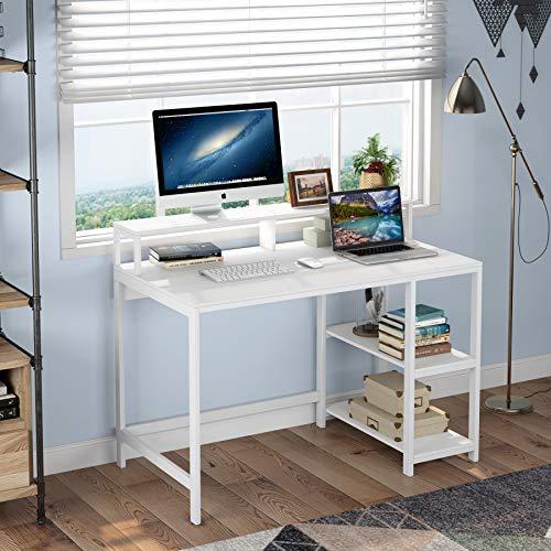 Tribesigns Scrivania per Computer Scrivania Scrivania per Studio Postazioni di Lavoro per Computer Scrivania per PC con Struttura in Metallo, 2 Ripiani per Ufficio in casa, Soggiorno, Camera da Letto