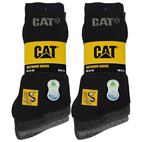 Caterpillar Outdoor socks 6 pares de calcetines para hombre en algodón suave con control de humedad, puntera y talón reforzados (Gris, 41-45)