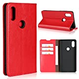 Sunrive Für Xiaomi Mi Mix 2S, Echt-Ledertasche Schutzhülle Hülle Standfunktion Flip Lederhülle Hülle Handyhülle Schalen Kreditkarte Handy Tasche(rot)+Gratis Universal Eingabestift