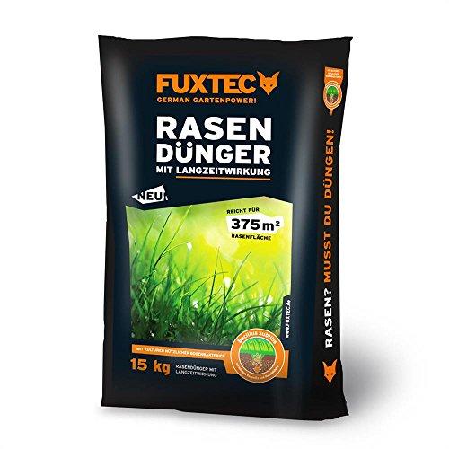 Fuxtec Rasendünger mit Langzeitwirkung 15 kg - 375 m²,besonders für Golfanlagen,Sportplätze,Zierrasen und Parks geeignet, für kräftige und dichte Grasnarben, vermindert die Moos- und Unkrautbildung
