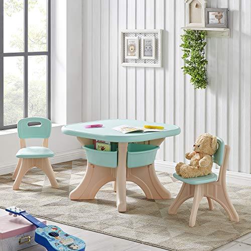 Barton Kids Children Activity Art Table and 2-Chair Set Table with Detachable Storage Bins (Aqua/Beige)