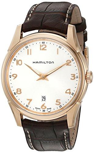 Hamilton Jazzmaster - Reloj de cuarzo suizo para hombre, color marrón (modelo: H38541513)