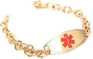 My Identity Doctor - Medical ID Bracelets for Women with Engraving, O-Link 316L Steel, Rose Tone 6mm - Made in USA