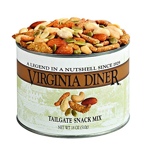 Virginia Diner - Gourmet Natural Tailgate Snack Mix (Salted Virginia Peanuts, Salted Cashews, Cheddar Sesame Sticks, Roasted Pepitas & Salted Almonds), 18 Ounce Tin