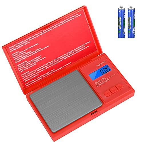 Aurora & Tithonus précision Cuisine, 700g / 0.01g avec 7 Unités, Balance de Poche avec Écran LCD, pour Peser des Herbes, des Bijoux (Red)