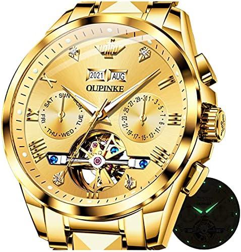 Swiss Automatic Watch for Men Blue Waterproof Self Winding Two Tone Watches Men Mechanical Skeleton Day Date Relojes para Hombre Luminous Wristwatch Stainless Steel Tourbillon Men's Watch