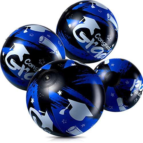 4 Stück Aufblasbare Wasserbälle für Blau Abschlussfeier, Jumbo Congrats Grad Zeichen Aufblasbare Strandball für 2020 Blau Abschluss Party Lieferung und Party Gefallen (Blau)