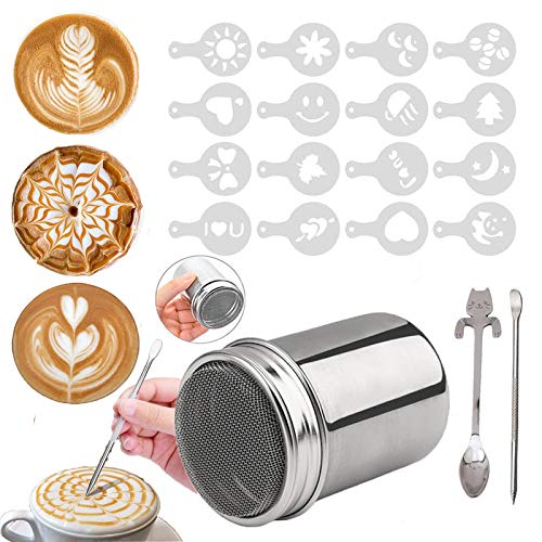 Panlom Chocolate Shaker Cappuccino Stainless Steel with Lid Powder Sprinkler for Coffee Icing Sugar Cocoa with 16 Coffee Stencil + Cat Coffee Spoon