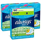 Always Maxi Feminine Pads with Wings for Women, Size 2, Long Super Absorbency, 180 Count, FSA HSA Eligible, Unscented, 60 Count - Pack of 3 (180 Count Total)