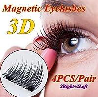 つけまつげ 磁気まつげ 磁石 3D 極薄 高級繊維 つけまつ毛 接着剤不要 柔らかい 再利用可能 ピンセット付き 、2ペア