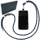 Handykette universal zum Umhängen von Smartphones - Halsband als Umhängetasche für Handys wie iPhone, Samsung, Huawei UVM. (blau-Mix)