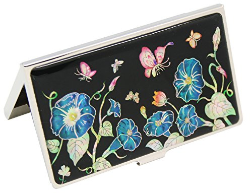 Perlmutt-Blau Morning Glory Flower Design Metall Business Kreditkarte ID Name Karte Fall Edelstahl Gravur Slim Geldbörse Portemonnaie Pocket Cash Geld