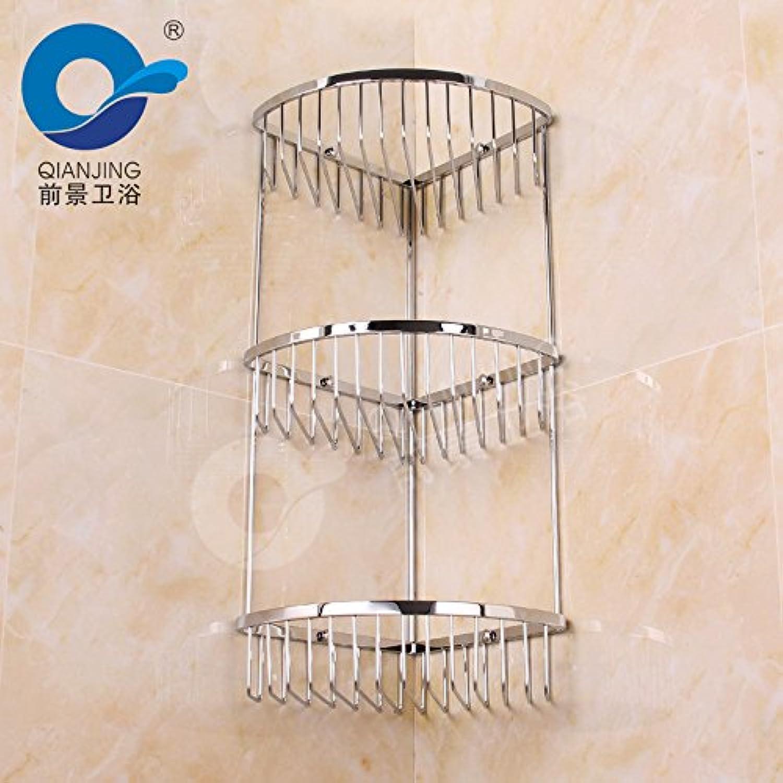 European-style three-layer stainless steel triangular basket bathroom corner shelf storage baskets three-tier bathroom rack 210210530mm