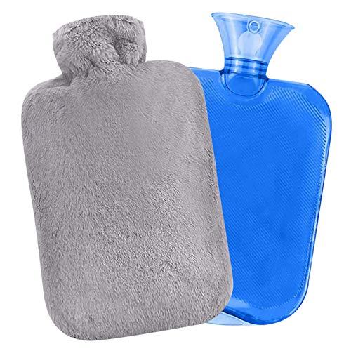 Bouillotte Eau Chaude Peluche - avec housse en polaire douce – 2 L grande capacité pour thérapie par le chaud pour les abdominaux, le dos, le cou, les crampes et le soulagement de la douleur