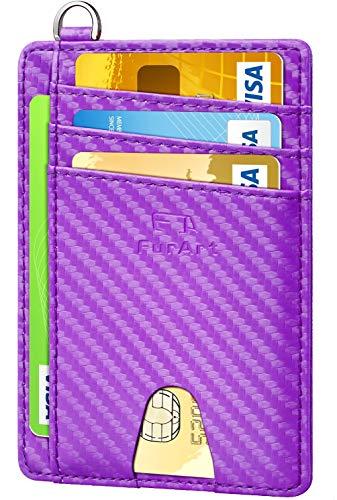 FurArt Klein Geldbörse für Herren und Damen,RFID Schutz Kreditkartenetui, Mini Portemonnaie Geldbeutel, Demontage D-Schäkel