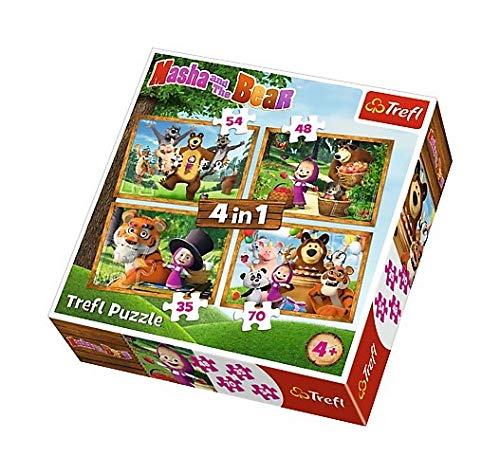 Trefl – 34329 – Masha and The Bear – 4 in 1 Puzzle Box