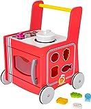 small foot 10609 Lauflernwagen Küche, aus Holz, 2 in 1, mobile Spielküche, mit Steckspiel und...
