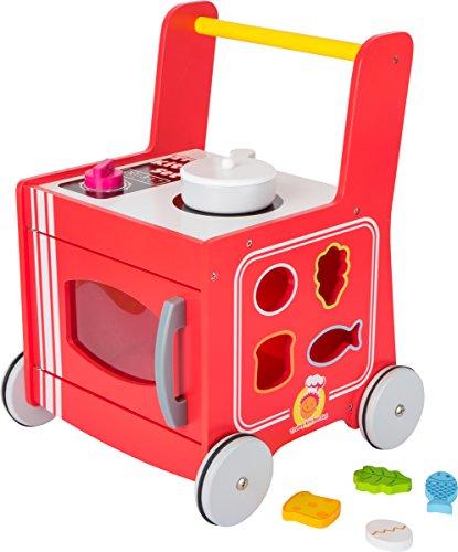 small foot 10609 Lauflernwagen Küche, aus Holz, 2 in 1, mobile Spielküche, mit Steckspiel und Gummibereifung