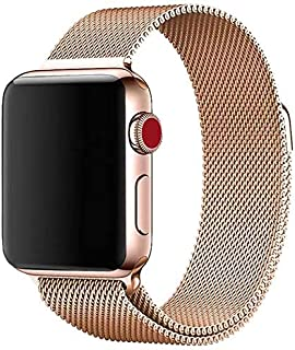 Milanese Loop Watch Band for 42mm/44mm For Apple Watch, Stainless Steel iWatch Replacement Strap - Rose Gold