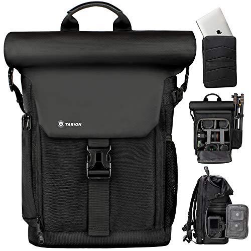TARION カメラバッグ 2020年 分離式パソコン収納バッグ付き サイドアクセス ロールトップ設計 大容量 容量拡張可 カメラバック 一眼レフバッグ 撥水加工 三脚収納 SP01 ブラック