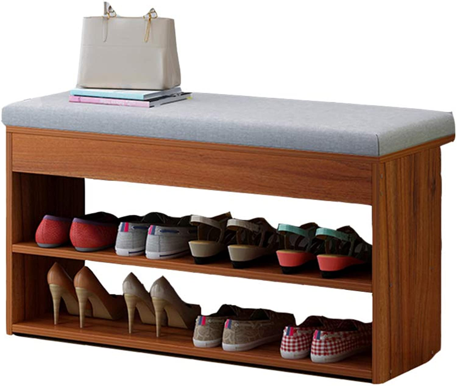 YNN shoes Bench shoes Rack with Seat Cushion Storage Bench for Living Room Hallway Entryway 80 X 30 X 42 cm (W X D X H) 3 colors (color   Walnut color)
