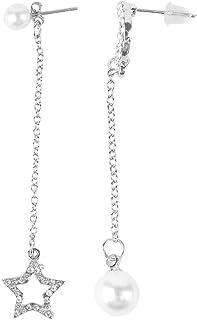 Trendy Sparking Long Tassel Style Women Earrings Rhinestone Simulated Pearl Star Moon Pendant Asymmetry Dangling Earrings