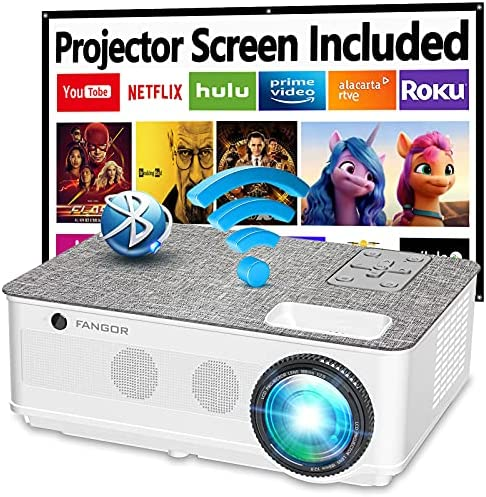 """Native 1080P Projector 5G WiFi and Bluetooth, FANGOR 8500L Outdoor Projector 4K Support, Home Movie Projector Compatible with TV, PC, HDMI, USB, VGA, iOS/Android[120""""Screen Included]"""